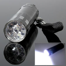 9 LED Mini Flash Ultra Bright Flashlight Light Lamp Torch AAA Black