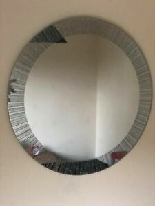 50cm Round Silver glitter frame wall mirror girls room bling glitter wall mirror