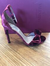 d25992c58ed4  795 VALENTINO Velvet Bow Ankle Strap Heels Sandals Open Toe 37   7 Shoes  Red
