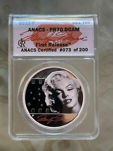 "2012-P TUVALU 1 OZ PURE SILVER ""Marilyn Monroe"" Silver Dollar - ANACS PR70 DCAM"
