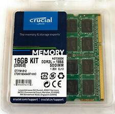 Crucial 16GB Kit 2x 8GB DDR3 DDR3L 1866 MHz PC3-14900 Sodimm Laptop Memory