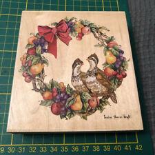 Stamps Happen Stempel Partridge Wreath Rubber Stamp Neu & unbenutzt aus Sammlung