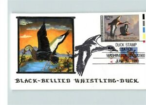 $12.50 Black Bellied WHISTLING DUCK Stamp Hand Painted on First Day. U.S. Dept.