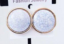 CLIP-ON EARRINGS ROUND GOLD TONE RIM CIRCLE OFF WHITE EARRINGS 1.25 INCH