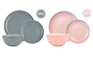 18pc Dining Set Dinner Plates Bowls Tableware Pink Grey White Rim Stoneware