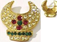 broche vintage déco relief incrusté de cristaux diamant couleur or * 4746