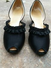 Daniel Green 1940s 1930s vintage women's shoes slippers black satin open toe 6