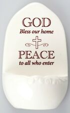 PORCELAIN HOLY WATER FONT GOD BLESS OUR HOME PEACE TO ALL WHO ENTER OTHERS AVAIL