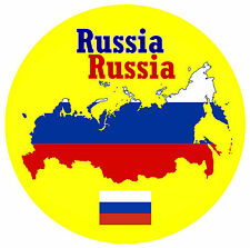 RUSSIA - MAP / FLAG - ROUND SOUVENIR FRIDGE MAGNET - BRAND NEW / GIFT