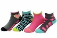 Stride Rite Toddler/Little Girl's 4-Pairs Frances Fierce Charcoal Quarter Socks