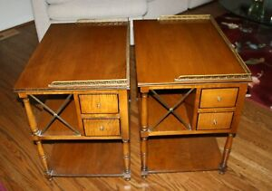Pair of Very Unique 1950's Kittinger Night Stand/End Tables - 4 Drawer