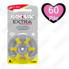60 Batterie Pile per apparecchi acustici RAYOVAC ZA10 PR70 P10 10 Gialle