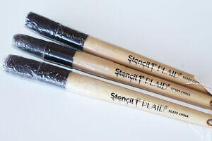 NEW 3 Pack of Plaid Medium Stencil Paint Brush Brushes Craft Wood & Long Bristle