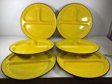 Vintage (6) Yellow Divided Enamel Ware Metal Dinner Plates Camping Dinnerware