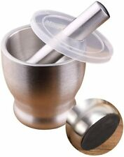 Mortar and Pestle Set Stainless Steel Spice Herb Grinder Molcajete with Lid
