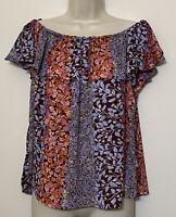 Maeve Anthropologie Medium Blouse Orange Blue Short Sleeve Off The Shoulder Top