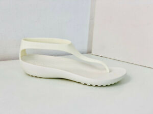 Crocs Serena Flip Sandale weiß W 9 39 40 sandals shoes sexi thongs oyster creme