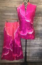 Vtg 1960-70's Kiyomi Hawaii Liberty House Pink 2 Piece Shirt Pants Women's 10