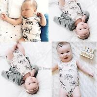 Newborn Baby Girl Boy Clothes Dinosaurs Bodysuit Romper Sleeveless Outfits 0-18M