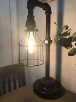 "Industrial Black Iron Pipe Lamp 3/4"" Custom Made Steam Punk Galvanized DIY"
