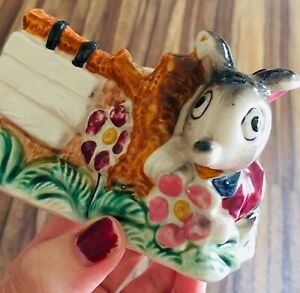Vintage retro kitsch mouse ceramic planter