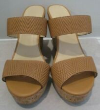 """JIMMY CHOO """"Parker"""" Tan Embossed Leather Cork Wedges New In Box - Size 37.5"""