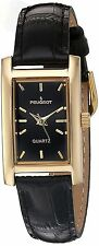 Peugeot Womens Classy 14K Gold Plated Rectangle Case Black Leather Watch 3007BK