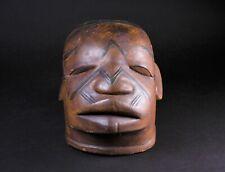 Original rare MAKONDE lipiko tribal mask Mozambique + scarification carved wood
