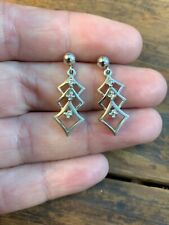 Vintage Diamond Earrings 14k White Gold Drop Dangle Triangle Unique