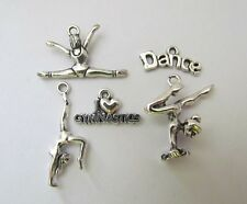 I love GYMNASTICS metal charm set gym gymnast dance bar beam Olympic routine