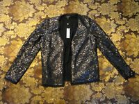 NWT TALBOTS BLACK SEQUIN COCKTAIL JACKET - 100% SILK - SIZE 8