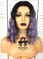 Lace Front Curly Wavy Ombre Purple Wig