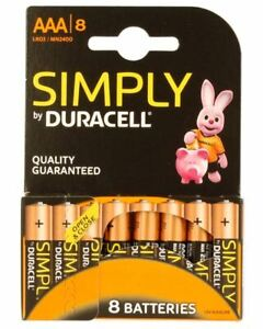 Duracell Simply AAA Batteries - Pack of 8 - Pack of 4 - Alkaline - Duralock.