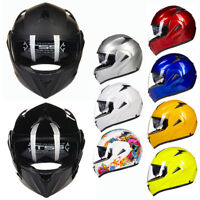 DOT Dual Visor Flip Up Motorcycle Helmet Racing Motocross Full Face Motorbike