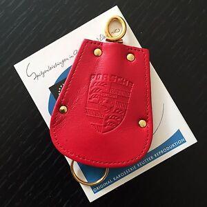 Original PORSCHE  KAROSSERIE REUTTER Schlüsselmäppchen Key Fob  aus rotem Leder