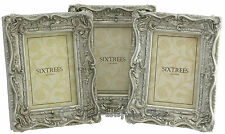 """THREE Shabby & Chic Vintage Ornate Antique Silver Photo frames - 6""""x4"""" Picture"""