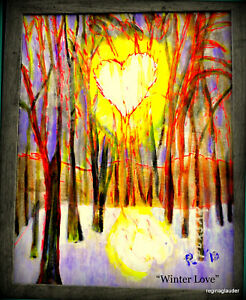 "PUKSAR ORIGINL SIGND Fine Art GICLEE Surreal Paintng ""Winter Love"" apres PICASSO"