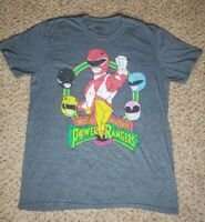 Saban's Mighty Morphin Power Rangers T-Shirt Blue 2017 Graphic Tee Size Large