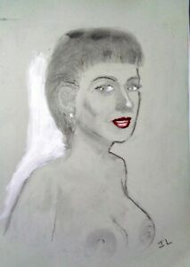 NUDE FEMALE   A4 -  Acrylic and charcoal sketch