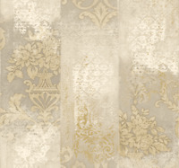 Damask Wallpaper Cream Bronze Gold Modern Deconstructed Pattern Mud Cloth