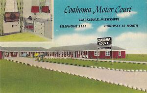 Coahoma Motor Court CLARKSDALE Mississippi USA Advertising Postcard