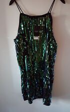 BNWT NEXT STUNNING GREEN / BLACK SEQUIN CAMI SHIFT  DRESS SZ 14 RRP £60
