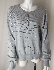 $98 BANANA REPUBLIC Gray Merino Ex Fine Wool Silver Sequin Sweater Cardigan XL