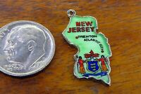 Vintage sterling silver NEW JERSEY STATE MAP TRENTON ATLANTIC CITY charm RARE