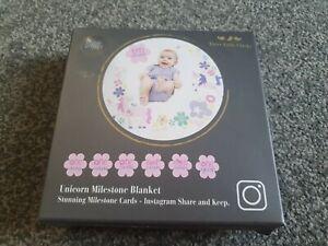 Baby shower girt Milestone cards and Blanket Baby Girl 14 cards soft unicorns