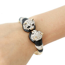 Animal Dual Panda Bear Bangle Cuff Bracelet Clear Austrian Crystal Gold Plated