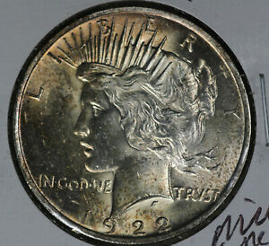 Nicely Toned Uncirculated 1922 Peace Silver Dollar!