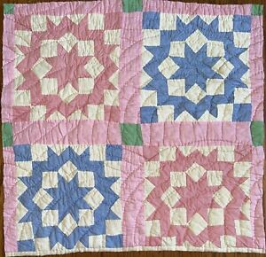 """Antique Vintage Quilt Piece 1930's Dutch Rose Pattern Pinks Blues 23""""X23.5"""""""