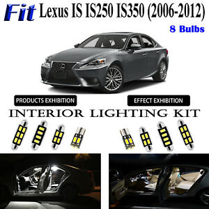 8pcs White LED Interior Dome Light Kit For Lexus IS IS250 IS350 IS F 2006-2012