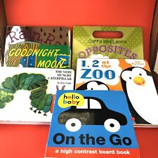 Lot Of 6 Children's Books Good Night Moon, Very Hungry Caterpillar, On The Go